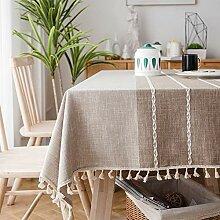 SUNBEAUTY Tischdecke Abwaschbar Leinen Baumwolle