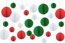 SUNBEAUTY Weihnachten Kugeln Wabenbälle Rot &