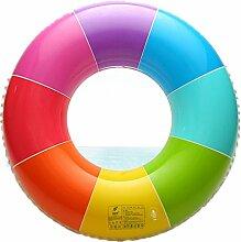 Sunbobo Mehrfarbiger aufblasbarer PVC-Schwimmring-Pool-Hin- und Herbewegungssitz für erwachsene Kinderkindermädchen-Jungen-Strand-Spielzeug (Größe : L)