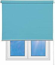 Sunce24 Verdunkelungsrollo Lichtundurchlässig Thermo Sichtschutz Seitenzug Rollo Abdunkelnd individuell in der Breite kürzbar 120 x 200 cm, türkisblau