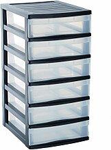 Sundis 4166001 Optimo Aufbewahrungsschrank mit 6Schubfächern, Polypropylen, 38x30x60cm, transparent/Schwarz