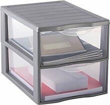 Sundis Orgamix Mini Aufbewahrungsschrank mit Schubladen groß Polypropylen, Polypropylen, silber, A4