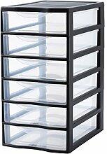 Sundis Orgamix Mini Aufbewahrungsschrank mit Schubladen groß Polypropylen, Kunststoff, schwarz, A4