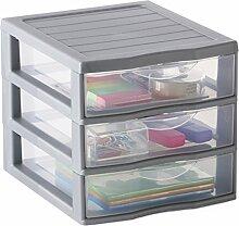 Sundis Orgamix Mini Aufbewahrungsschrank mit Schubladen groß Polypropylen, Polypropylen, silber, A6