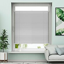 Sunfree Plissee Klemmfix Rollo ohne Bohren - Hellgrau - 65x130cm (BH) - Jalousie Faltrollo Sichtschutz und Sonnenschutz für Fenstern & Türn