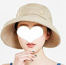 Sunhats Sonnenschutz Sommer Weibliche UV Schutz Fischer Hut Freizeit Wild Faltbare Zusammenklappbare Reise Leer ZHAOYONGLI (Farbe : Khaki, größe : M(56-58))