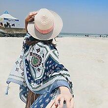 SunJin besonders frühen Frühling Kap Korean Folk style Tourismus Sommer Strandtuch schal Schal schal Mädchen, Sonnenschutz, WM 130 Sonnenblume