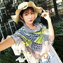 SunJin Chun Sommer koreanische Version von Literatur und Kunst geometrische lange Schals Seidenschal Frauen Sonnenschutz schal Tourismus foto Strandtuch, gelb