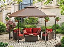 sunjoy d-gz076pst-d Madison Pavilion Hex Form Soft Top Terrasse Pavillon mit Servieren Regal, khaki, 402x 348x 311cm