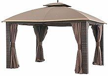 sunjoy l-gz815pst Sonoma Geflecht Soft Top Terrasse Pavillon mit Netz und Vorhang, groß, Braun, 366x 305x 300cm