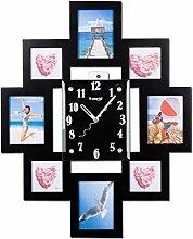 Sunjun Wanduhr Hartfaserplatte Bilderrahmen arabische Ziffern Dispaly Glas Zifferblatt Stille Bewegung ruhig Traceless kreative Uhr für Wohnzimmer Schlafzimmer Schule Offiice