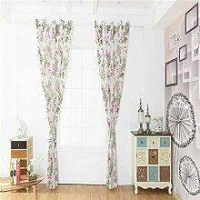Sunlera Bauhinia Printed Halb Gardinen Blumen-Fenster Verbandsmull Blumen Wohnzimmer, Schlafzimmer, Fenster drapieren Jalousien 100 * 200