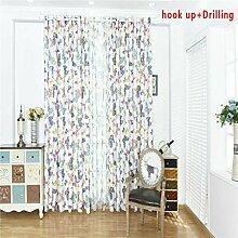 Sunlera Bunter Schmetterling um Voile Tür-Fenster-Jalousien Blackout Vorhänge für Schlafzimmer Küche Fenster Vorhänge