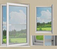 SUNLUX24 Insektenschutz auf Maß / Montage: auf PVC Fenster mittels Z-Haken (ohne Bohren) / Breite 40 bis 50cm x Höhe 40,1 bis 50cm / Rahmenstärke: 21 mm