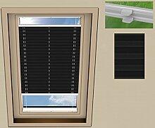 SUNLUX24 Plissee Cosimo Dachfenster für VELUX GGL 304/Stoff: Schwarz(PLB061)/Modell: DF 20 Basic