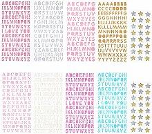 Sunmns Glitzer-Buchstaben-Aufkleber, Alphabet,