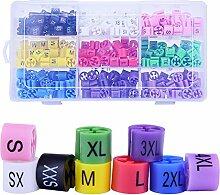 sunmns Store Kleiderbügel Größe Marker Tags, Mutil color-coding Trennwände 9Größen (XXS–4X L), 360Stück (für 2–4mm Haken)