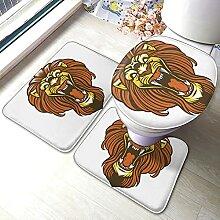 Sunmuchen Cartoon Lion Badgarnitur Badematten Set