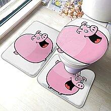 Sunmuchen Cute pink Pig Badgarnitur Badematten Set