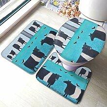 Sunmuchen Galloway Cow Badgarnitur Badematten Set