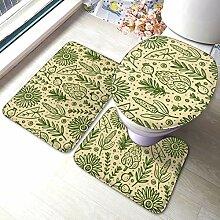 Sunmuchen Plant Pattern Badgarnitur Badematten Set
