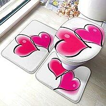 Sunmuchen Two pink Hearts Badgarnitur Badematten