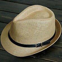 SUNNY Damen Herren Ein Paar Breiter Krempe Strand Urlaub Sonnenschutz Zusammenklappbar Strohhut ( Farbe : Khaki )