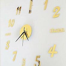 SUNNY KEY-Uhren@Wand Uhr Quarz Wand Aufkleber 3D DIY Acrylspiegel moderne Hauptdekoration , gold