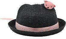 SUNNY Kind schöne Strohhut Mädchen Junge Sonnenschutz Sommer Sonnenschutz Frühling und Herbst Hut ( Farbe : Schwarz )
