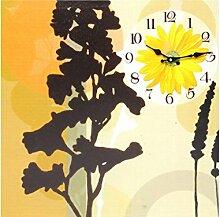 Sunny Toys 13446 Holz Wanduhr mit Blumen-Design circa 40 x 45 cm mit Sekundenzeiger