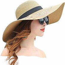 SUNNY Womens Brim Caps Strand Urlaub Sonnenschutz Faltbarer Strohhut - Khaki