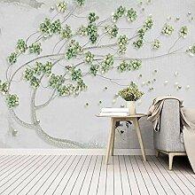 SUNNYBZ 3D Wandbild Moderne Tapete Grün Pflanze