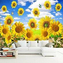 SUNNYBZ Wandbild - Blau Himmel Pflanze Sonnenblume