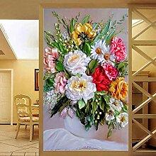 SUNNYBZ Xxl Wandtattoo Farbe Vase Blume Kunst