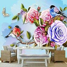 SUNNYBZ Xxl Wandtattoo Farben Blumen Vögel