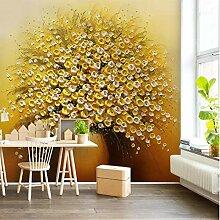 SUNNYBZ Xxl Wandtattoo Golden Pflanze Blume Kunst