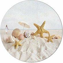 SunnyM Runder Teppich mit tropischem Strandmotiv,