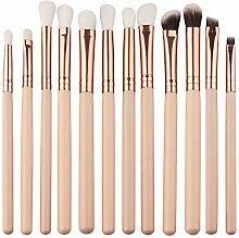 sunnymi 12 pcs Mini Augen Make-up Pinsel Set Hypoallergen, für alle Hauttypen geeignet (Beige, 15.5*8*1cm)
