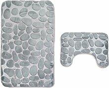 sunnymi 3D Einfacher Stein Art WC Vorleger 50*80cm Badematte Bade Matte Rutschfester Badvorleger Badteppich,Rutschfester Sockel-Teppich + Badematte (50*80cm, Grau)