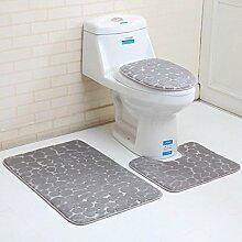 sunnymi 3D Stil 3pc Set ✔ WC Vorleger Bade Matte Rutschfester Türvorleger,Rutschfester Sockel-Teppich + WC-Abdeckung + Badteppich Bad Anti Rutsch Matte ((D) Stein Stil, Flanell)