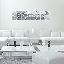 sunnymi 4Pcs 3D Acryl Spiegel Unregelmäßige Form Vinyl Entfernbare Wand Aufkleber Abziehbild Ausgangsdekor Kunst DIY (Unregelmäßige Form, Silber)