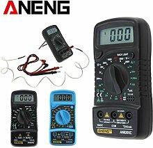sunnymi Digital Thermometer Multimeter 3 1/2 digitaler LCD Bildschirm/Gleichstrom Wechselstrom Widerstand Diode Temperatur Tester/Hintergrund Licht Funktion (Schwarz)