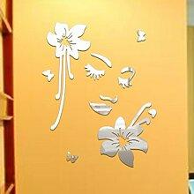 sunnymi Home Zimmer Dekor 3D Spiegel Floral Art Abnehmbare Wandaufkleber Acrylic Blumen Und Frauen Mural Decal 52*41cm (52*41cm, Silber)