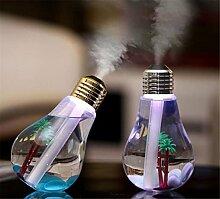 sunnymi Licht Birne Zerstäubung Aroma Luftbefeuchter 400ml,LED Transparente Landschaft Modelle,Baby Home Auto Luftdiffusor Luftreiniger (153 * 88 * 88mm, Silber)