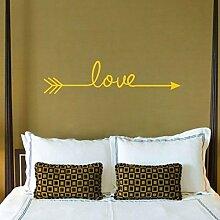 sunnymi Liebe Pfeil Wandaufkleber Aufkleber Wohnzimmer Schlafzimmer Aufkleber Vinyl Carving (58*14CM, Gelb)