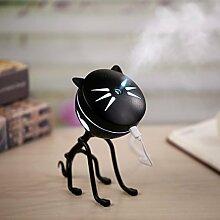 sunnymi Mode LED Katze Zerstäubung Luftbefeuchter 150ML,Baby Home Auto Luftdiffusor Luftreiniger Zerstäuber (Befeuchtet, Schwarz)