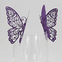 sunnymi Neue 50 Stück Schmetterling Weinglas Papierkarte/Für Festival Hochzeitsfeier/Schöner Metallischer Effekt (lila)