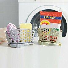 sunnymi Portable ★ Aufbewahrungskorb Finishing Rack ★Drain Bag Korb/Küchen-Bad-Aufbewahrungs-Werkzeuge Sink-Halter-Speicher-Zahnstange (grau)