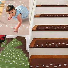 sunnymi Staircase Mats/Wood Tile And Marble/Non-Slip Rubber Backing Skid-Resistant/Protect the Surface/Carpet Stair Gripper Set of 5 (Kaffee)