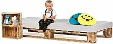 sunnypillow Palettenbett aus Holz Holzbett 120 x
